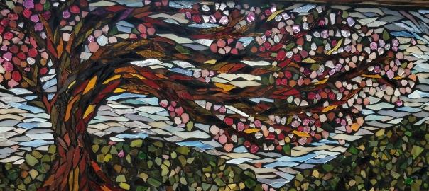 Windy Blossom Mosaic by Kory Dollar of Marvelous Mosaic Fine Art