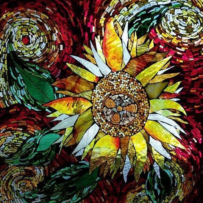 Mosaic, Flower, Sunflower, Artist, Famous Artist, Northwest Artist, Fine Artist