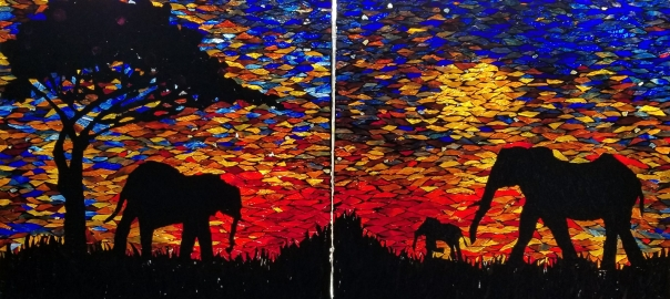 Hope Wahl, Mosaic, Glass on Glass, Stained Glass, Sunset, Elephant